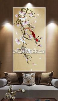 Tranh hoa sứ tím và chim hỷ tước