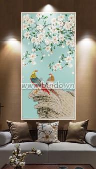 Tranh hoa trắng và đôi chim hỷ tước