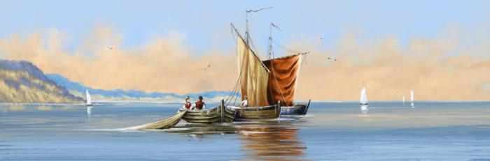 Tranh vẽ tranh phong cảnh biển và Thuyền đánh cá.