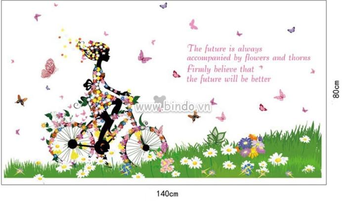 Decal dán tường Xe đạp bướm