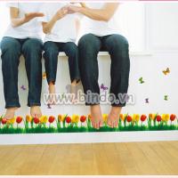 Decal dán tường   Chân tường tulip 2