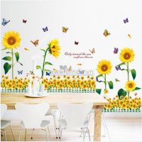 Decal dán tường  Combo Hướng dương vàng và Chân tường hoa hướng dương vàng