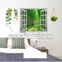 Decal dán tường Khung cửa sổ 3D 2