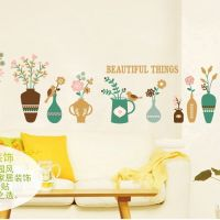 Decal dán tường 10 chậu hoa sắc màu