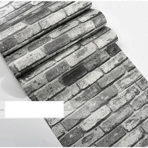 Decal dán tường Giấy dán tường 3d gạch xám đen 2