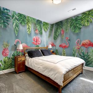 Tranh vẽ khu rừng nhiệt đới và chim hồng hạc