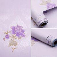 Decal dán tường Giấy decal cuộn hoa hồng tím 2