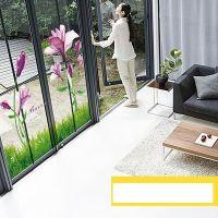 Decal dán tường Hoa anh thảo tím và chân tường cỏ xanh