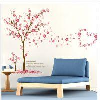 Decal dán tường Hoa đào và trái tim