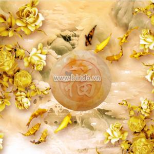 tranh ngoc cá chép và hoa vàng