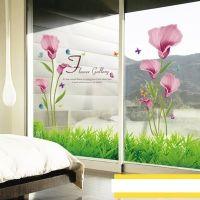 Decal dán tường Hoa tulip và chân tường cỏ xanh