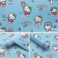 Decal dán tường Giấy decal cuộn Kitty xanh 2