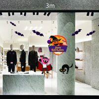 Decal dán tường Trang trí Halloween Dracula,mèo đen và dơi