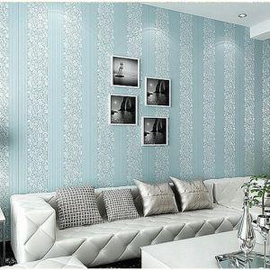 Decal dán tường Giấy dán tường 3d hoa văn và sọc dây trắng