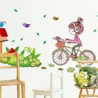 Decal dán tường Cô bé xe đạp