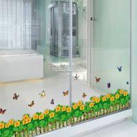 Decal dán tường Chân tường hoa 4 cánh vàng 2