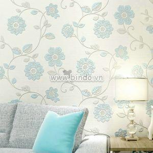 Giấy dán tường 3d họa tiết hoa xanh