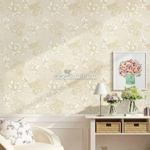 Giấy dán tường 3d hoa vàng đồng nhạt