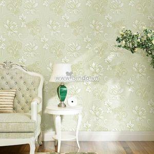 Giấy dán tường 3d  hoa xanh nhạt