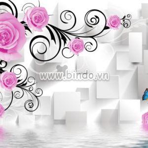 Hoa hồng 3D và đôi bướm