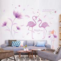 Decal dán tường Hoa tím và thiên nga