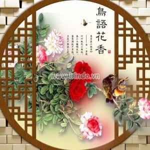 Khung cửa hoa hồng và chim én