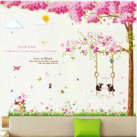 Decal dán tường Combo Cây đào hồng size 2 tấm và Xích đu hồng