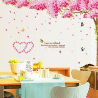 Decal dán tường Cây hoa anh đào hồng size nhỏ