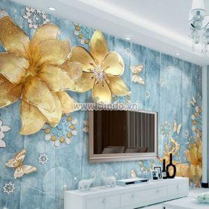 Tranh vẽ tuần lộc và hoa vàng