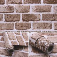 Decal dán tường Giấy decal cuộn gạch xám nâu