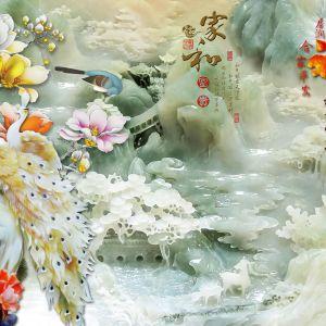 tranh ngọc đôi công và chim én