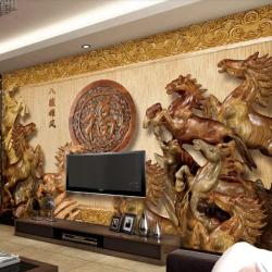 Tranh ngựa 3D giả gỗ