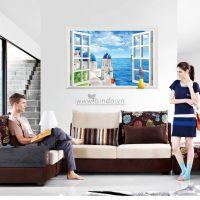 Decal dán tường Cửa sổ biển xanh