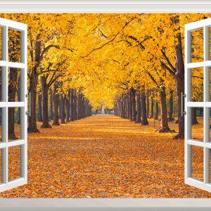 Tranh cửa sổ công viên mùa thu