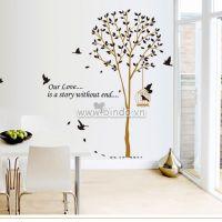 Decal dán tường Cây và chim