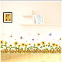 Decal dán tường Chân tường hoa hướng dương 3