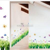 Decal dán tường Chân tường hoa giai nhân