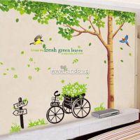 Decal dán tường Combo Cây bóng mát 1 và Xe đạp xanh