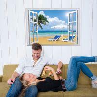 Decal dán tường Cửa sổ biển và cây dừa