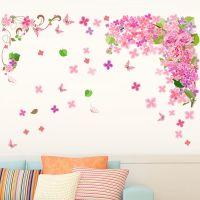 Decal dán tường Dây leo hoa tím hồng