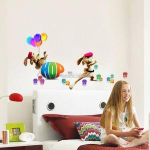 Decal dán tường Phim hoạt hình HOP - Đôi thỏ và bong bóng