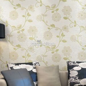 Decal dán tường Giấy dán tường 3d dây leo hoa xanh lá