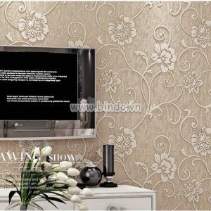 Giấy dán tường 3d họa tiết hoa vàng kem 2