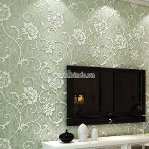 Giấy dán tường 3d họa tiết hoa xanh nhạt