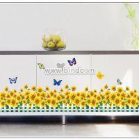 Decal dán tường Hàng rào hoa hướng dương số 1