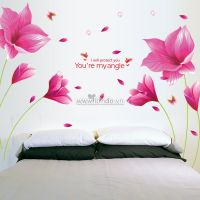 Decal dán tường Hoa tulip hồng tím