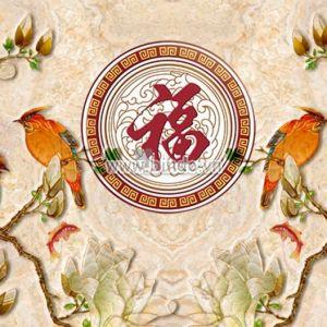 Hoa lan và hai đôi chim