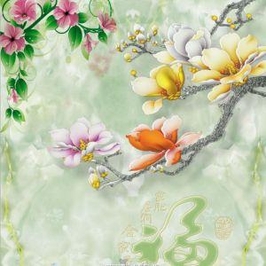 Hoa mẫu đơn và đôi chim hạc (khổ dọc)