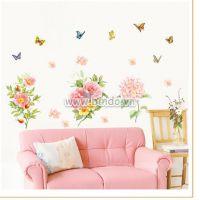 Decal dán tường Hoa và bướm