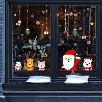 Decal dán tường Noel 116 - Ông già noel và bạn vẫy chào
